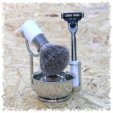 Set da barba in acciaio bianco Chambridge